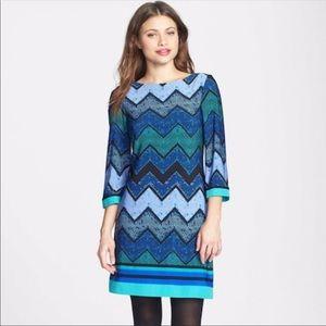 Eliza J. Jersey Shift Dress Blue Chevron Size 4
